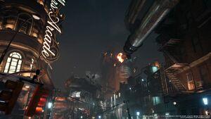 Blick auf zerstörten Reaktor Nr 1 bei Sektor 8 Final Fantasy VII Remake