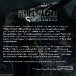 FFVII Remake Release Verschiebung April