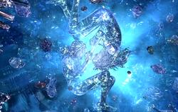 Fangs und Vanilles Kristallstatuen