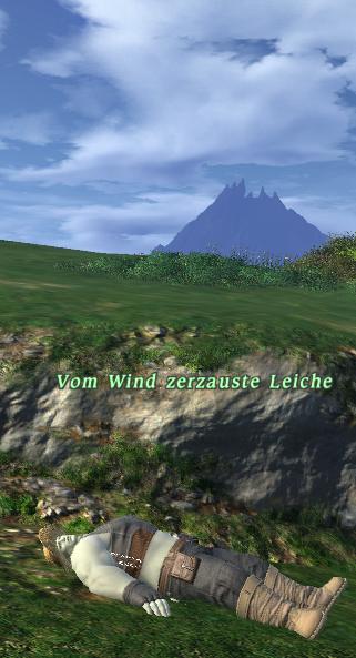 Vom Wind zerzauste Leiche