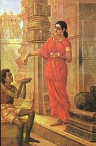 Ravi Varma-Lady Giving Alms at the Temple