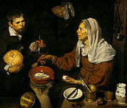 220px-VELÁZQUEZ - Vieja friendo huevos (National Galleries of Scotland, 1618. Óleo sobre lienzo, 100.5 x 119.5 cm)