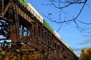 Train passes Portageville Viaduct