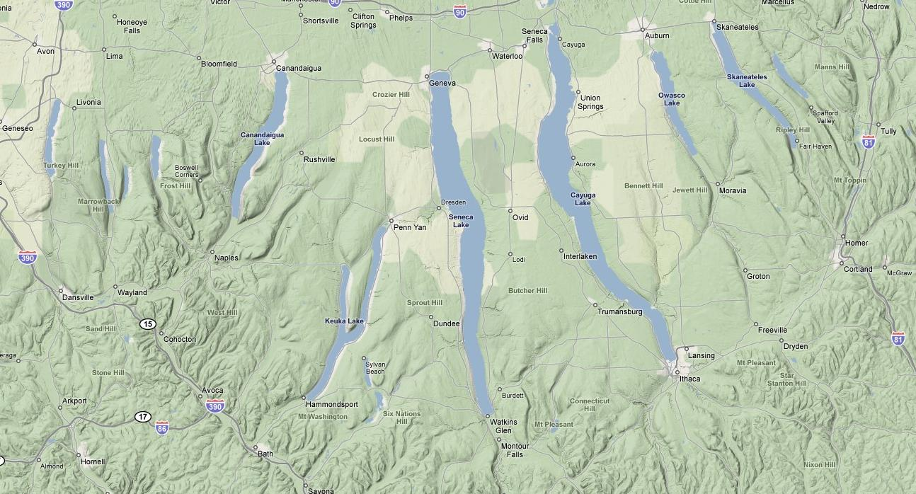 Image - Finger Lakes large elevation map.jpg | The Finger Lakes Wiki ...