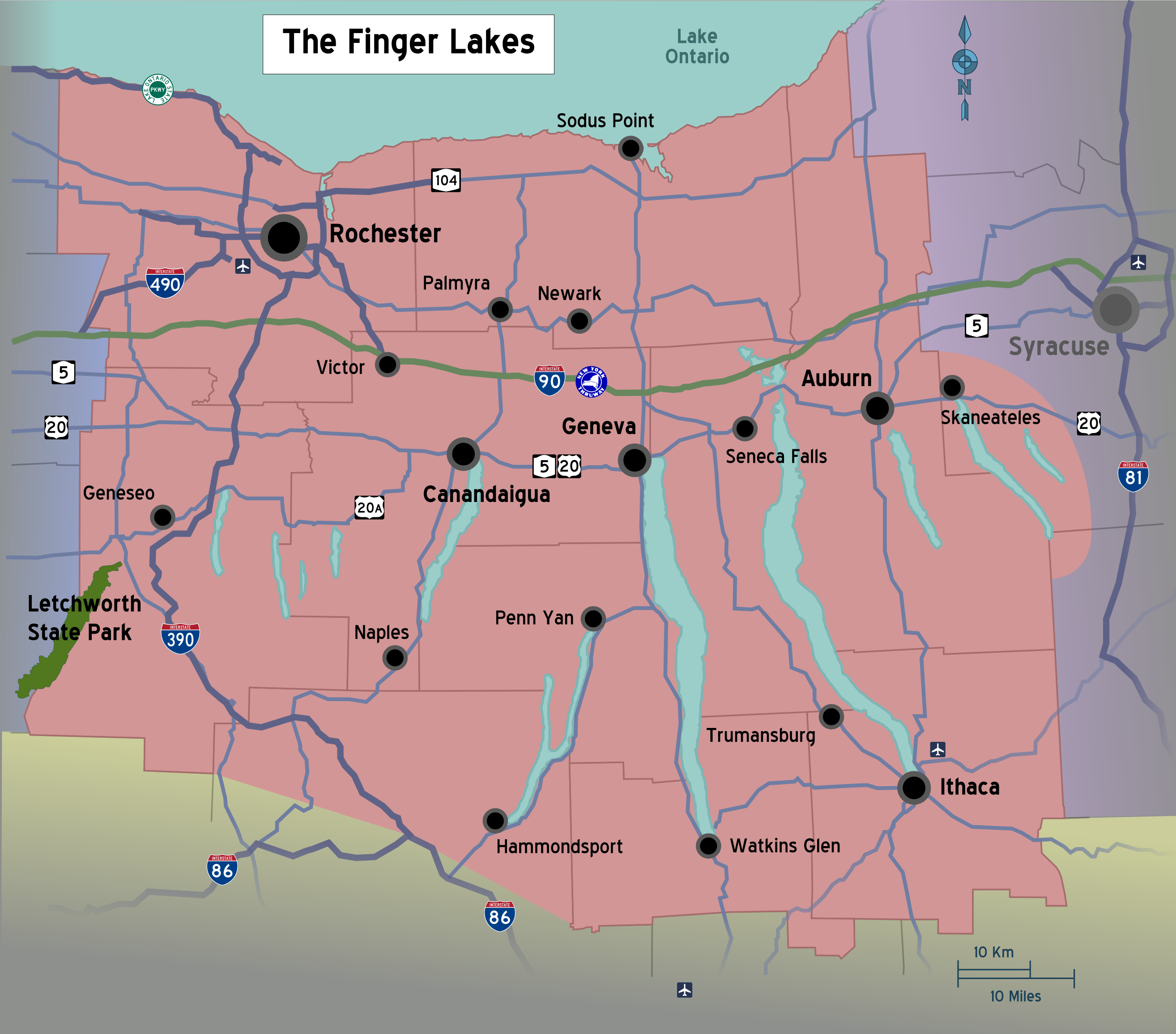 Image - New York State Finger Lakes Region political map.png | The ...