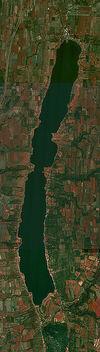 Aerial view of Conesus Lake, New York
