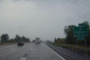 New York State Thruway Interstate 90 Rochester Exit 45 sign