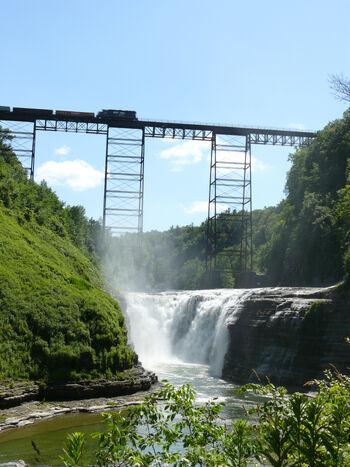 Letchworth State Park New York Upper Falls Train Bridge Portage Viaduct