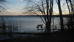 Flooded bench on Onondaga lake