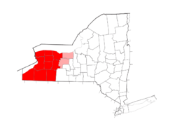 Western New York counties highlighted in red