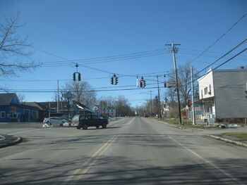 Intersection of County road 36 and US Route 20 in Honeoye