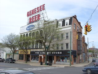 Downtown Auburn, New York Genesee Beer sign
