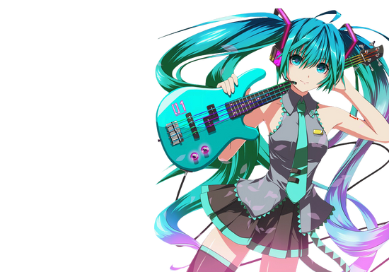Hatsune Miku tocando una guitarra celeste-90487
