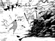 Kurono attacks Shinra with Hidden Eclipse