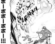 Takehisa extinguishes Huge Pusupusu