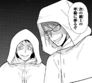 The White Hoods impersonating Takehisa and Akitaru