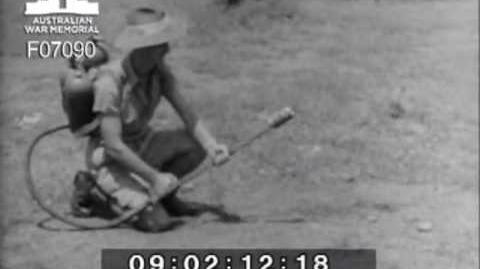 Demonstration of captured Japanese flamethrower