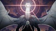 Ilustración de la Furia Blanca atacando a Byleth mujer - Fire Emblem Three Houses