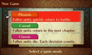 FE14 Game Mode Selection Screen