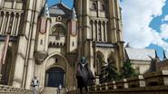 Byleth enfrente de un castillo cp fe13