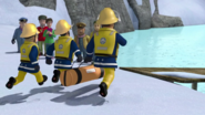 Inflatable rescue path carried