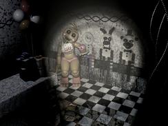Toy Chica agachada en Party Room 4