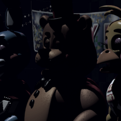 <b>Toy Freddy</b>,<b>Toy Chica</b> y <b>Toy Bonnie</b> en el escenario sin luces