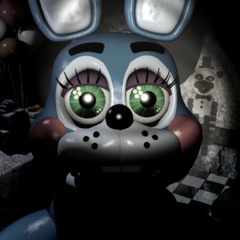 <b>Toy Bonnie</b> mirando fijamente la cámara en la <b>Party Room 4</b>