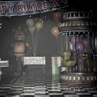 <b>Toy Freddy</b> y <b>BB</b> en <b>Game Area</b>
