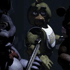 <b>Freddy</b>, <b>Chica</b> y <b>Bonnie</b> mirando la CAM A1
