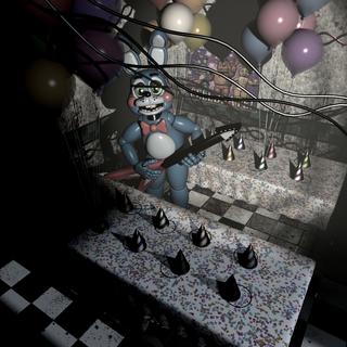 <b>Toy Bonnie </b>en <b>La Sala de Fiestas 3</b> con su instrumento en mano