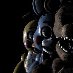 <b>Freddy</b>, <b>Toy Chica</b> y <b>Toy Bonnie</b> en el menú principal