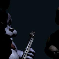 <b>Freddy</b> y <b>Bonnie</b> en el escenario con <b>Chica</b> desaparecida