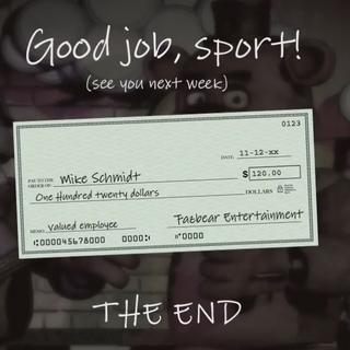 Primer cheque de Mike, recibido después de completar la Noche 5.