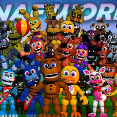 The 23rd version shows Nightmare Freddy, Bonnie, Foxy, Freddy, Withered Freddy and Phantom Foxy all moved slightly.