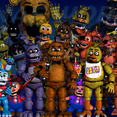 This image shows the addition of Shadow Bonnie and Phantom Chica. The other 2 that changed were Springtrap and Golden Freddy (FNAF 1). The words 'FNAF WORLD' replaced 'THANK YOU'.
