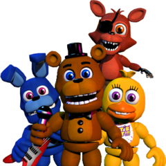 Foxy with Freddy, Bonnie, and Chica