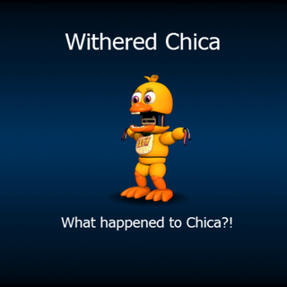 Withered Chica in a loading screen.