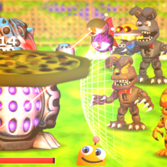 <i>Jack-O-Bonnie in a battle against Security with it's counterpart and Nightmare Chica and Jack-O-Chica.</i>