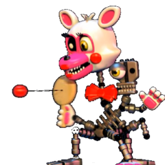 A frame of Adventure Mangle playing with a paddle at the end of the FNAF World trailer.