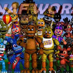 In the 16th version, the 'FNAF WORLD' text went red, Spring Bonnie moved, Nightmare Chica moved, JJ moved, Withered Chica moved, Golden Freddy (FNAF 2), Balloon Boy moved, Wirthered Bonnie moved, all Foxy's moved, Nightmare moved, Nightmare Fredbear moved, Phantom Puppet moved, Shadow Bonnie moved and Withered Freddy changed.