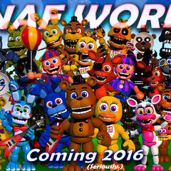 This version shows nearly everyone moves and the Adventure Animatronics have more color and Nightmare Chica changes. There is text down the bottom that says 'Coming Soon 2016 (Seriously)'.