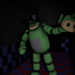 Dipsy in the Tubby Hall with no eyes, from the Nightmare Night.