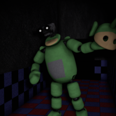Dipsy in the Hallway. Note that he has taken his head off and his endoskeleton head is revealed.