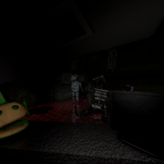 Prototype Dipsy in the middle office door, from the FNaTL 3 beta.