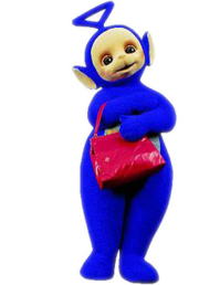 Tinky Winky from the show holding his bag