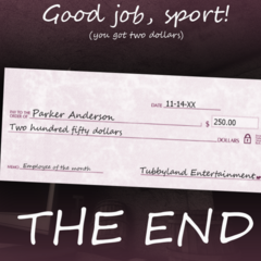 The check Parker receives after beating the sixth night.