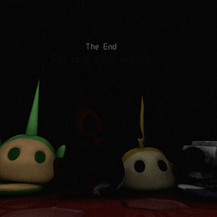 An image of Po's head along with three other V2 heads in the style of FNaF 3's ending screen, from Critolious's DeviantArt.