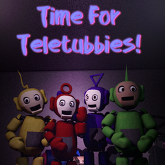 An image of the repaired tubbybots in the poster found around the restaurant. Notice Noo-Noo out of order behind the tubbybots.