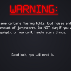 The warning screen when loading up the game.